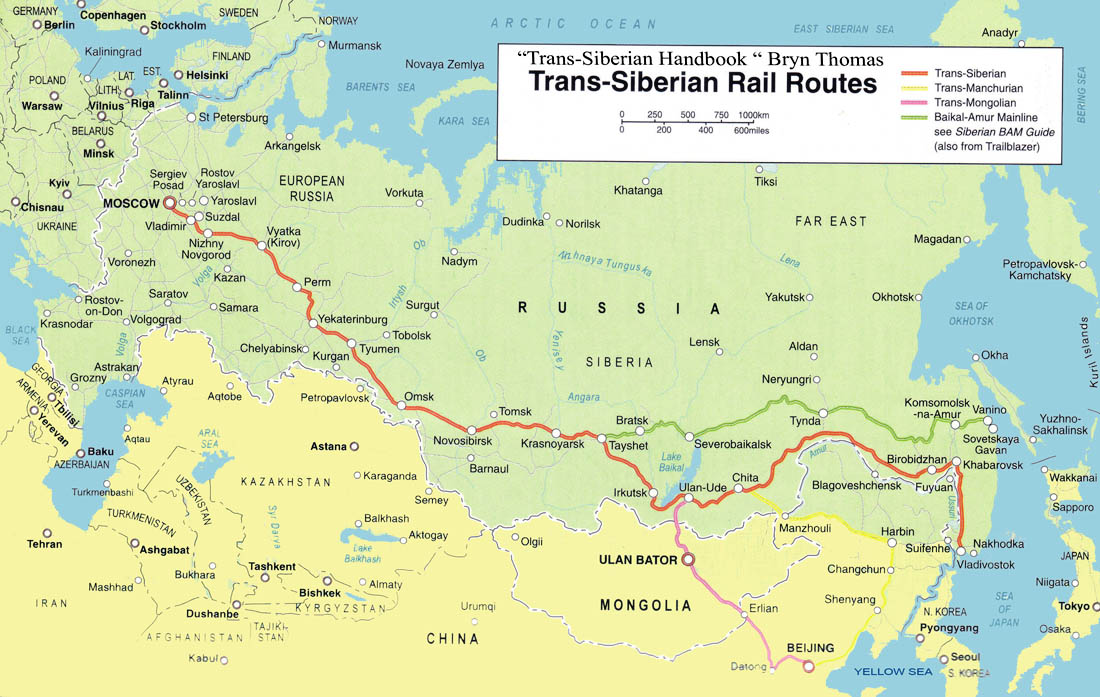 Rutas del los trenes Transiberianos.