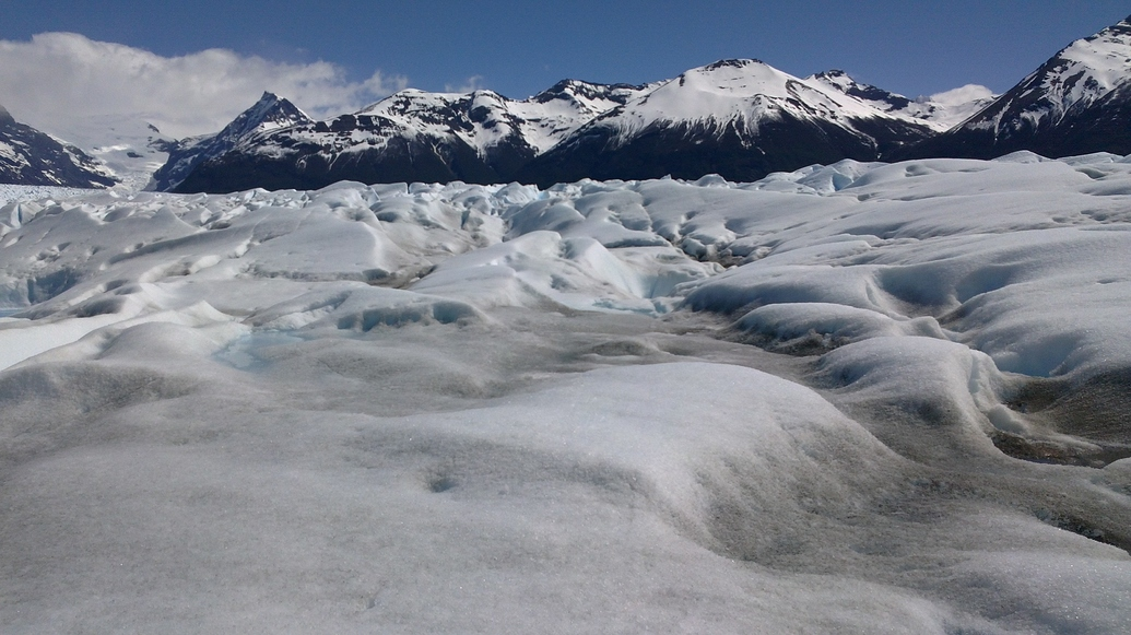 Sobre el glaciar.