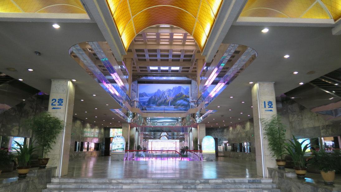 Lobby del hotel en Pyongyang.