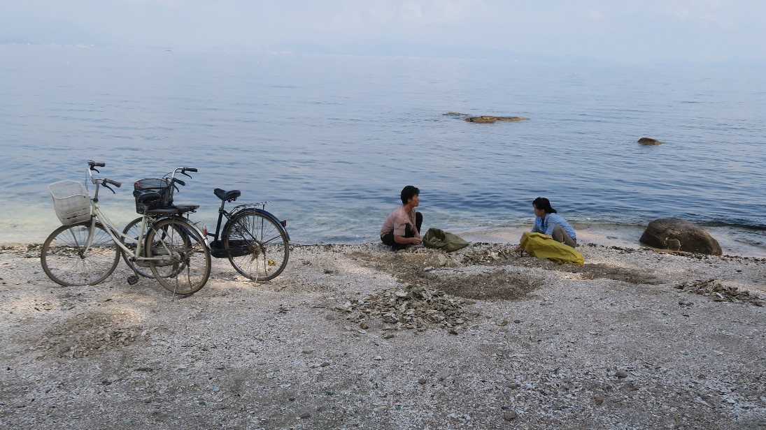 Mujeres mariscando y sus bicicletas.